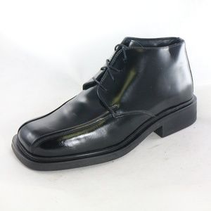 KENNETH COLE Square Toe Black Leather Oxford Boots